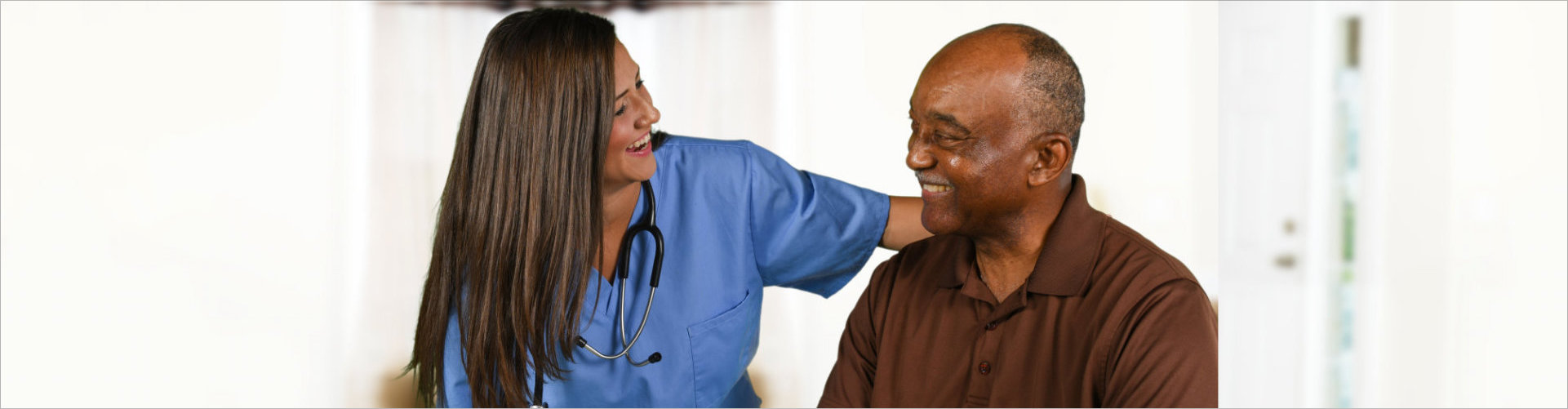 elder man with caregiver